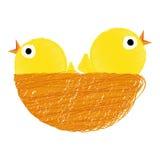 Kuikens op nest stock illustratie