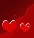 Illustratie van twee harten Stock Afbeeldingen