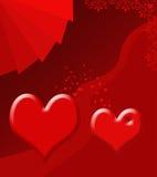 Illustratie van twee harten Stock Foto's