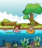 Twee meisjes bij de rivier royalty-vrije illustratie