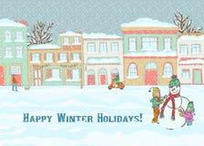 Illustratie van twee meisjes die een sneeuwman met een achtergrond van stadsgebouwen bouwen Royalty-vrije Stock Foto's