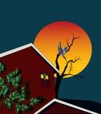 Illustratie van twee rode huizen royalty-vrije illustratie