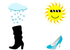 Illustratie van twee schoenen, een regenachtige en zonnige ski Stock Foto