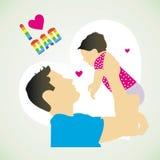 Illustratie van vader en zoon in Vaderdag Stock Foto