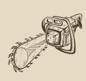 Illustratie van vector zwart-wit kettingzaag Stock Fotografie
