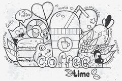 Illustratie van vectordiekrabbels met de hand op het thema van tijd voor koffie worden getrokken Stock Afbeelding