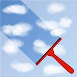 Illustratie van Venster schoonmakende achtergrond met blauwe hemel en witte wolken Stock Afbeelding