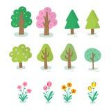 Illustratie van verschillend soort boom Stock Foto's
