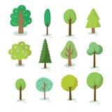 Illustratie van verschillend soort boom Stock Fotografie