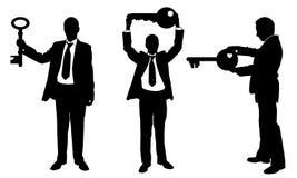 Illustratie van verschillende mensen met sleutels royalty-vrije illustratie