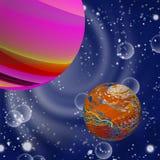 Illustratie van verschillende planeten in kosmische ruimte, close-up stock illustratie