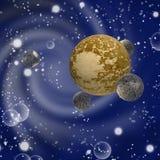 Illustratie van verschillende planeten in kosmische ruimteclose-up vector illustratie