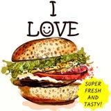 Illustratie van verse en smakelijke hamburger op witte achtergrond in Royalty-vrije Stock Foto's