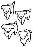 Illustratie van vier honden Royalty-vrije Stock Afbeeldingen