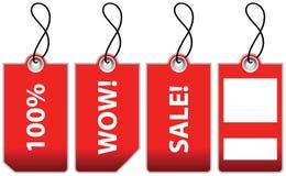 Illustratie van vier rode verkoopetiketten. Stock Afbeelding