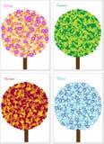 Illustratie van vier seizoenenboom die op whit wordt geïsoleerd= stock illustratie