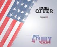 Illustratie van vierde van Juli-Achtergrond met Amerikaanse vlag Stock Foto's