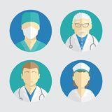 Illustratie van vlak ontwerp De pictogrammen van mensen Arts en verpleegster Stock Fotografie
