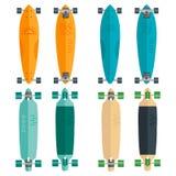 Illustratie van vlakke longboards op witte achtergrond Stock Foto's