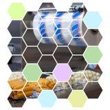 Illustratie van voedsel plastic verpakkende machine stock illustratie