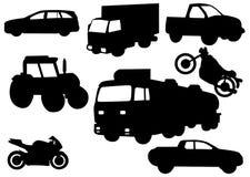 Illustratie van voertuigsilhouetten Stock Fotografie