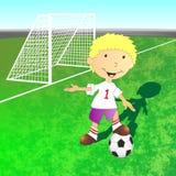 Illustratie van voetbalgebied en voetbalster Stock Afbeelding