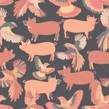 Illustratie van vogels en varkens royalty-vrije illustratie