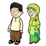 Illustratie van Volwassen Maleisisch Beeldverhaal - Vectorillustratie royalty-vrije illustratie