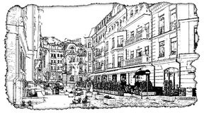 Illustratie van Vozdvizhenka Kiev van de kunstwerk de zwart-witte tekening royalty-vrije stock afbeelding