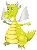 Illustratie van vriendelijke groene draak in beeldverhaalstijl Stock Foto