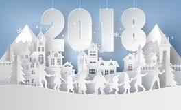 Illustratie van vrolijke Kerstmis en gelukkig nieuw jaar 2018 stock illustratie