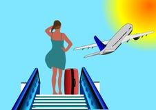 Illustratie van vrouw of meisje bij de luchthaven Stock Afbeeldingen