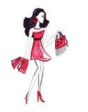 Illustratie van vrouw met het winkelen zakken Stock Afbeeldingen