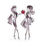 Illustratie van vrouw met het winkelen zakken Royalty-vrije Stock Foto's