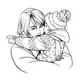 Illustratie van vrouw met kind Hand getrokken lijnkunstwerk Stock Afbeeldingen
