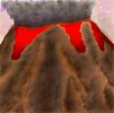 Illustratie van vulkaan in uitbarsting stock illustratie