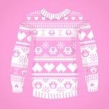 Illustratie van warme sweater met uilen en harten Stock Afbeeldingen