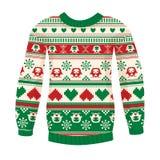 Illustratie van warme sweater met uilen en harten Stock Afbeelding