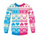 Illustratie van warme sweater met uilen en harten Royalty-vrije Stock Fotografie