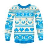 Illustratie van warme sweater met uilen en harten. Blauwe versie. Stock Afbeeldingen