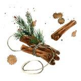 Illustratie van waterverf de hand geschilderde Kerstmis met kaneel Royalty-vrije Stock Foto