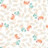 Illustratie van waterverf de leuke vogels De dag naadloos patroon van Valentine met mooie vogels en takken stock illustratie