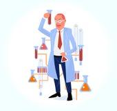 Illustratie van wetenschappelijk onderzoek met wetenschapper in chemisch l royalty-vrije illustratie