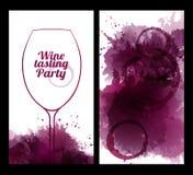 Illustratie van wijnglas met vlekken Stock Foto
