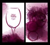 Illustratie van wijnglas met vlekken Stock Afbeelding