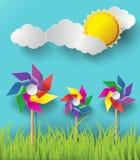 Illustratie van windmolens die in de bewolkte dagen blazen Royalty-vrije Stock Foto's