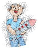Illustratie van woedende aanvaller klaar om het houden van een rots te lanceren royalty-vrije illustratie