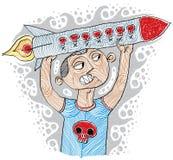 Illustratie van woedende bommenwerper klaar om het houden van een raket te lanceren stock illustratie