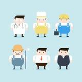 Illustratie van zes beroepen Stock Afbeeldingen