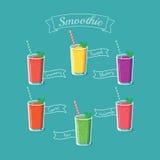 Illustratie van zes gezonde smoothiedranken - eps8 Stock Foto